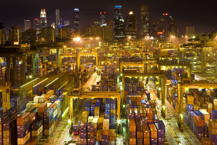 Night time view of import and export containers at the Port of Singapore